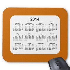 Pumpkin Orange 2014 Calendar Mouse Pad Design from Love Shack