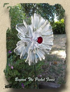 Repurposed Glass Garden Flower, Wall or Garden Art - Made of Vintage Glass Plates by Beyond the Picket Fence Aust.