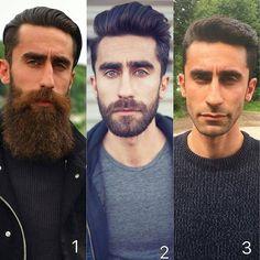 "Best Men's Hairstyles and Cuts (@menshairs): ""@eyup_bolatli - Long beard, short beard or no beard!? Which one do you prefer 1, 2 or 3?  Tag A…"""