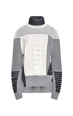 Mixed Intarsia Split Hem Sweater by Prabal Gurung for Preorder on Moda Operandi