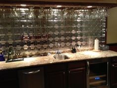 backsplash wet bar. a gorgeous weave of glass! | tile | pinterest