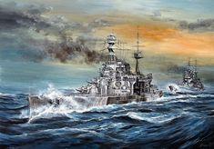 Otra del HMS Repulse, en esta ocasión seguido del HMS Prince of Wales en la que sería su última singladura, en obra de Lukasz Kasperczyk. Más en www.elgrancapitan.org/foro