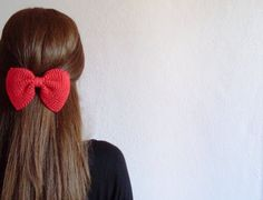 Hand knitted bow