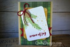 Christmas Pine Season of Joy | Stampin Up Demonstrator Linda Cullen | Crafty Stampin' | Purchase your Stampin' Up Supplies | Christmas Pines Stamp Set | Pretty Pines Thinlits | Warmth & Cheer DSP
