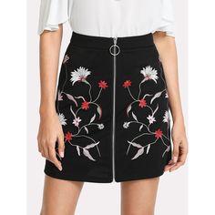 de36f1f60424 Botanical Embroidery Zipper Up Skirt. Embroidered FlowersFlower  EmbroideryEmbroidered SkirtsWomen's Mini SkirtsA Line ...