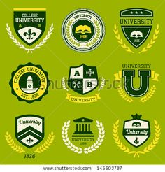 Set of university and college school crests and vector logo emblems by Mike McDonald, via ShutterStock