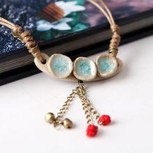 Original hecho a mano hielo grieta del esmalte de cerámica collar de mujer corto párrafo Collar de viento nacional pequeña adorna el artículo(China (Mainland))