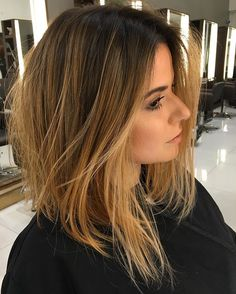 Long Bob com mechas Doce de leite Mais