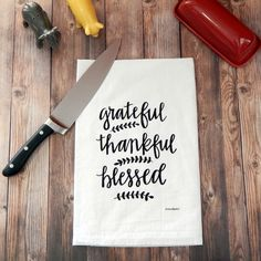 Grateful, Thankful, Blessed Flour Sack Tea Towel by GreenBeeKC on Etsy