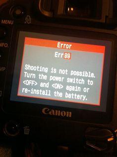 Canon 30D Error (Err99): Canon EOS 7D / 10D - 70D Talk Forum: Digital Photography Review