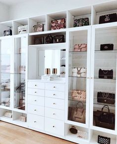 Custom Closets Greater New York This jaw-dropping bag closet was created for beauty influencer, Amra Olevic. The storage designed by California Closets New York designer , Allegra Pennisi entails a perfect boutique display and offers a ready-to-use option Walk In Closet Design, Bedroom Closet Design, Closet Designs, Bedroom Wall, Diy Bedroom, Bag Closet, Closet Storage, Storage For Bags, Ikea Pax Closet