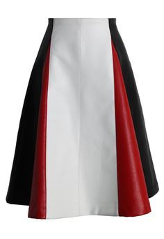 Color Blocks Faux Leather A-line Skirt in Black - New Arrivals - Retro, Indie and Unique Fashion