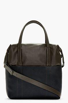 Maison Martin Margiela Grey & Navy Colorblocked Leather Tote for men   SSENSE