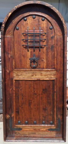 Rustic-Mexican-SOLID-wood-door-reclaimed-lumber-wrought-iron-arched-w-speakeasy