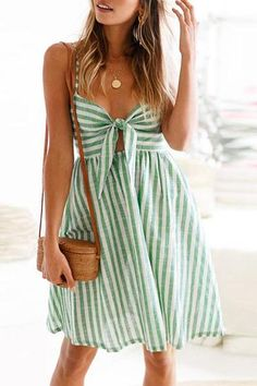 green and white striped dress Dress With Bow, The Dress, Dress Skirt, Waist Skirt, Chiffon Dress, Sexy Dresses, Evening Dresses, Fashion Dresses, Skater Dresses