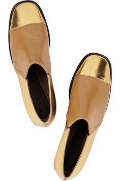 Metallic Moment: high-shine finishes lend lustre to fall. Marni Metallic leather loafers