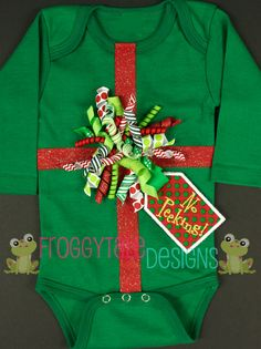 NO Peeking CHRISTMAS Glitter Present Korker Bow Green Bodysuit Onesie with Gift Tag for Little Baby Girls- Custom. $38.00, via Etsy.