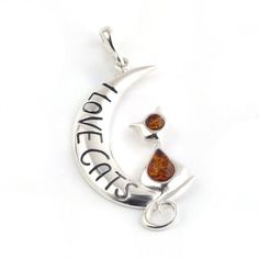 """Baltic Amber and Silver Pendant """"I LOVE CATS"""" – The Amber Room"""