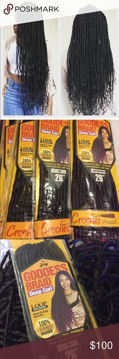 Goddess locs crochet braid Took these out the pack and started to put them on a crochet wig but changed my mind. Unused unworn 9 packs total at 14 locs per pack has 2 packs of purple in it and 1b Accessories Hair Accessories