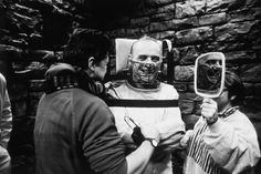 Director Jonathan Demme and Anthony Hopkins on the set of The Silence of the Lambs (1991).