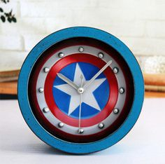 clock earings on sale at reasonable prices, buy Do the old retro shabby wooden shield of Captain America embedded nails European creative alarm clock desk clock from mobile site on Aliexpress Now! Retro Alarm Clock, Vintage Alarm Clocks, Clock Decor, Desk Clock, Captain America Merchandise, Vintage Fashion, Vintage Style, Old Things, Antiques