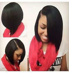 Fashion Side Bangs Black Color Bob Women's Straight Heat Resistant Synthetic Lace Front Wig for Black Women