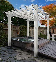 "Portland Pergola . $899.95. Portland Pergola. Define your outdoor spaces with the Portland Pergola, and enjoy years of low-maintenance beauty in your garden or on your lawn or patio. The 6'6""L x 6'6""W footprint makes this pergola the perfect fit above a hot tub or use it as a climbing trellis for a small seating area in your garden."