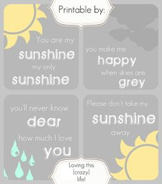 you are my sunshine  http://lovingthiscrazylife-melissa.blogspot.com/2012/04/you-are-my-sunshine-my-only-sunshine.html