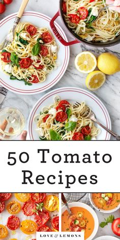 Celebrate summer with these 50 fresh tomato recipes! They include salads, sauces, pastas, and more to show off your sweet, juicy, ripe tomatoes. You're bound to find something you love! | Love and Lemons #tomatoes #summer #healthyrecipes #vegetarian