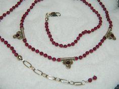 Garnet Gemstone Necklace Sterling Silver Knotted on Silk by gellav