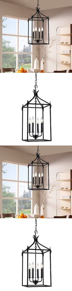 Chandeliers and Ceiling Fixtures 117503: Black 4 Light Hanging Lantern Iron Pendant Chandelier Kitchen Ceiling Fixture -> BUY IT NOW ONLY: $102.76 on eBay!