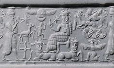 Egyptianized Near Eastern Hematite Cylinder Seal, Syria, 1820-1730 BCIn the area that corresponds roughly with the boundaries of modern Syria and Lebanon, there arose in the first half of the second millennium BC many centers of culture that maintained contact with lands both to the east and the west. The seals produced in this region—in a number of local styles—often bear imagery and stylistic features that relate them to Egyptian and Aegean art.The main scene on this cylinder seal depicts…