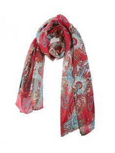 Bohemian Retro Silk Scarf - Red