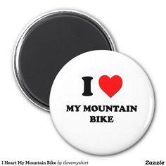 I Heart My Mountain Bike 2 Inch Round Magnet