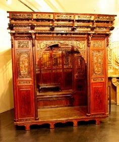 Elaborate Chinese Bed with Additional Sitting Area.