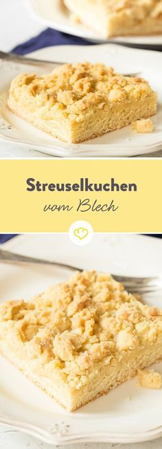 Streuselkuchen: ein saftiges Gedicht frisch vom Blech The basis of Grandma Hanna's crumble cake - a yeast dough, a heavy yeast dough, to be precise. In addition to yeast, su German Baking, Rum Cake, Food Cakes, Brownie Cheesecake, Cakes And More, No Bake Cake, Cake Cookies, Cake Recipes, Bakery