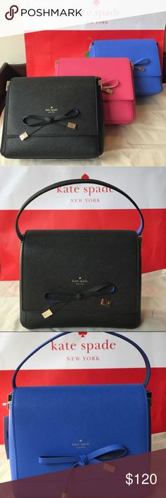 Kate spade cross body Brand new. I get discounts at kate spade so I'm selling stuff cheaper. If you have a request feel free to let me know and I'll see how much I can get it for. Keep in mind if you buy this item, I will directly go to the store and get it and ship :) I'm very trusted, I've sold a lot on eBay but I want to try something different :) choose from black, blue, or pink kate spade Bags Crossbody Bags