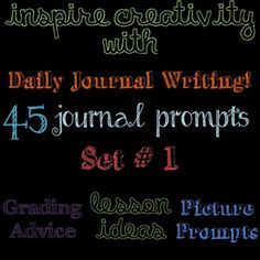 Inspire Creativity!  This PDF File contains 45 writing prompts for your students to respond to during the first 5-10 minutes of class.    Students work on building their enjoyment of writing by responding to varied and interesting writing prompts.  This set of 45 prompts includes photographs, persuasion, compare and contrast, silly, and serious questions for students to consider.