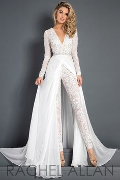 Discount 2018 Lace Chiffon Wedding Dress Jumpsuit With Train Modest V Neck Long Sleeve Beaded Belt Flwy Skirt Beach Casual Jumpsuit Bridal Gown Backless Wedding Dress Expensive Wedding Dresses From Alegant_lady, &Price; Wedding Dress Chiffon, Wedding Robe, Wedding Pantsuit, Couture Wedding Gowns, Backless Wedding, Bridal Gowns, Lace Chiffon, Dress Lace, Modest Wedding