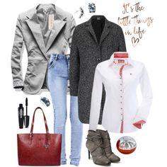 sivé-sako-dámsky-kabát-rifle-biela-košeľa-čižmy-kabelka