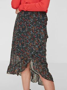 6622543551a Grøn eller rød- Slå-om nederdel med blomsterprint. - Høj talje som bindes