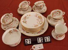 Luxury Gift China Set for 4 Royal Doulton Cereal Bowl Poetic Rose Pattern Vintage China Set Victorian China Wedding China Classy Tea China