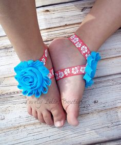 Baby Barefoot Sandals .. Tropical Sandals .. Toddler Sandals .. Newborn Sandals .. Baby Flower Sandals
