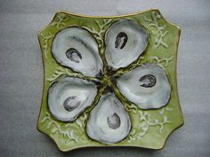 Antique Hand Painted Porcelain Oyster Plate
