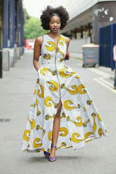 Ankara maxi dress/ African print maxi/ maxi dress/ Maria maxi Yellow by GITAS Portal African Inspired Fashion, African Print Fashion, Ethnic Fashion, African Print Dresses, African Fashion Dresses, African Dress, African Prints, African Attire, African Wear