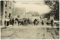 Bridgton-ME-Dirt-Street-View-Horse-Wagons-Postcard divided back