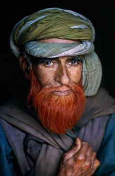 Faces of India - Kashmiri Man with Henna Beard by Steve McCurry
