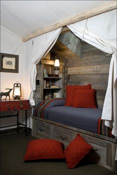 Teen boy bedroom - cool barnwood bed alcove