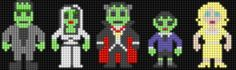 The Munsters - Perler Beads (Lair of the Dork Horde: Lite Brite Brutes) Fuse Beads, Perler Beads, Cartoon Network, Halloween Beads, Lite Brite, The Munsters, Perler Patterns, Disney Crafts, Bead Art