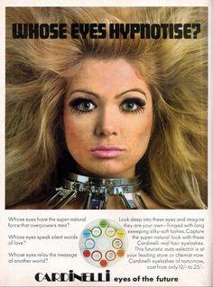 Eyes of the future 1960s Makeup, Vintage Makeup Ads, Retro Makeup, Vintage Beauty, Vintage Ads, Eye Makeup, Beauty Ad, Beauty Shop, Beauty Hacks